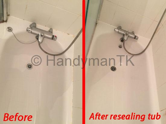 Before and After pictures of Handyman TK resealing bathtub