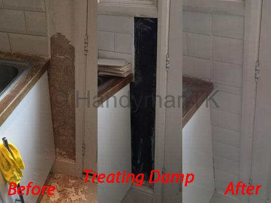 Before and After pictures of Handyman TK treating damp