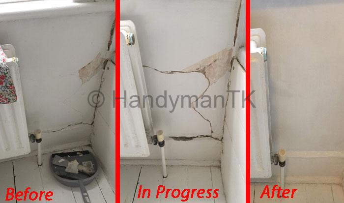 Before and After pictures of Handyman TK fixing cracks in a kitchen