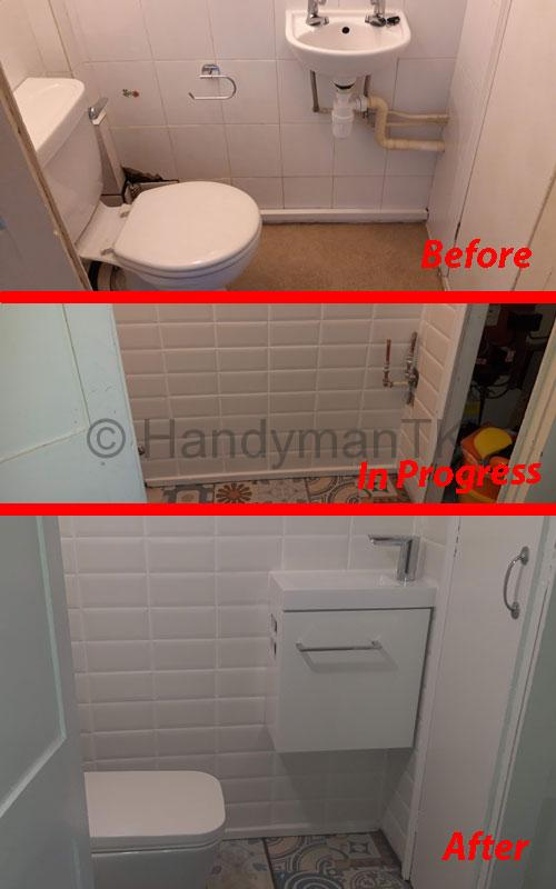 Before and After pictures of Handyman TK remodeling a cloakroom,