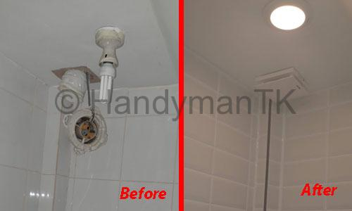Before and After pictures of Handyman TK remodeling a cloakroom