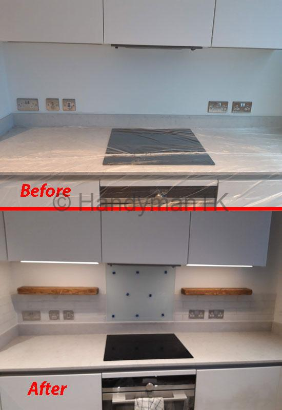 Before and After pictures of Handyman TK tiling kitchen wall