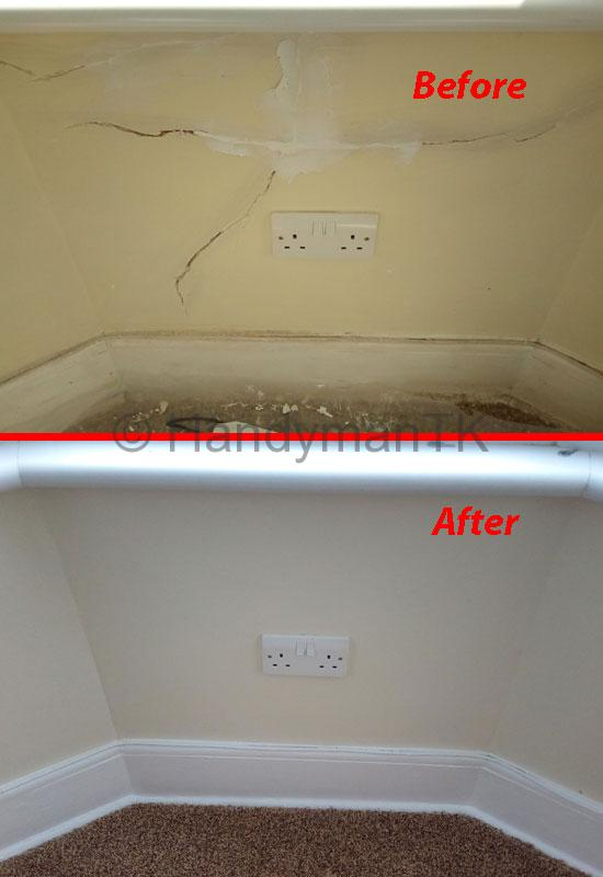 Before and After pictures of Handyman TK fixing cracks in a living room