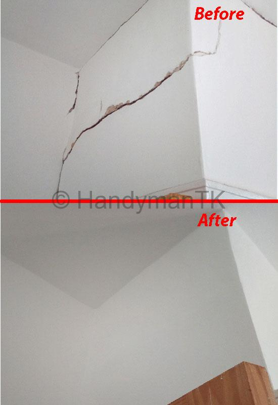 Before and After pictures of Handyman TK fixing cracks in a bedroom