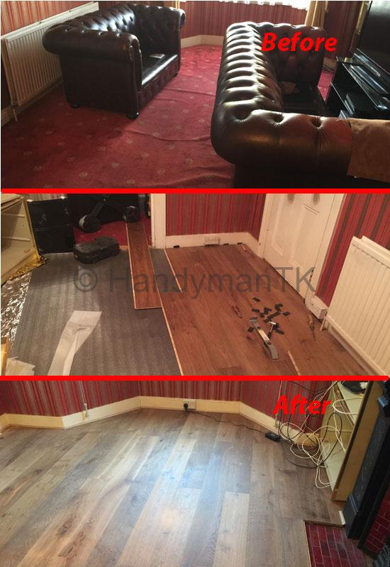 Before and After photos of Handyman TK laminating a living room.