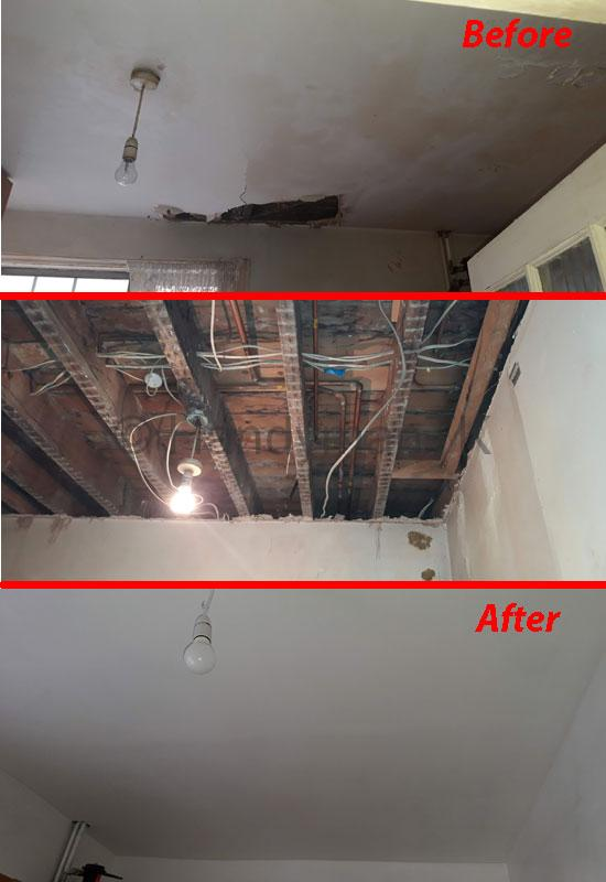 Before and After pictures of Handyman TK repairing damaged ceiling.