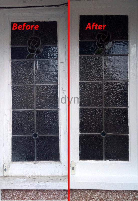 Before and After pictures of Handyman TK painting outdoor windows