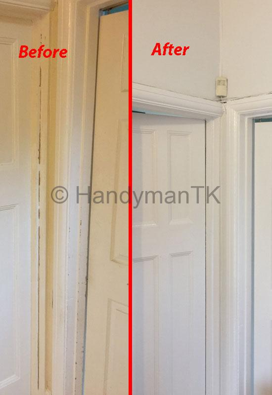 Before and After pictures of Handyman TK painting doors