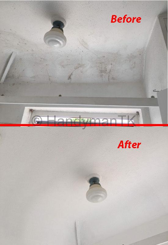 Before and After pictures of Handyman TK painting ceiling