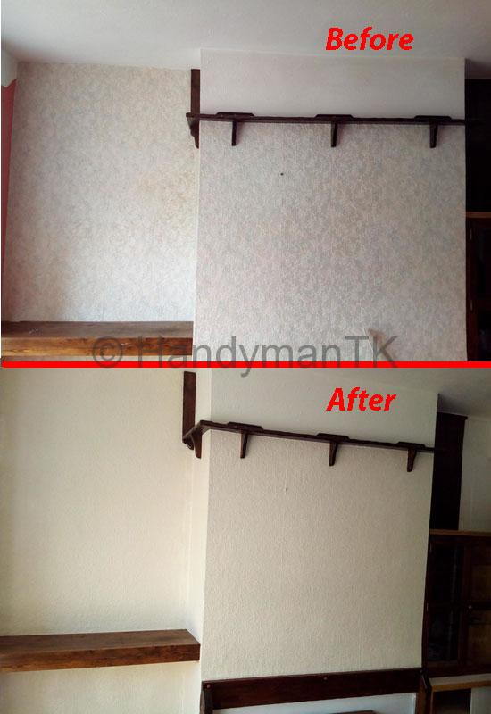 Before and After pictures of Handyman TK painting wall
