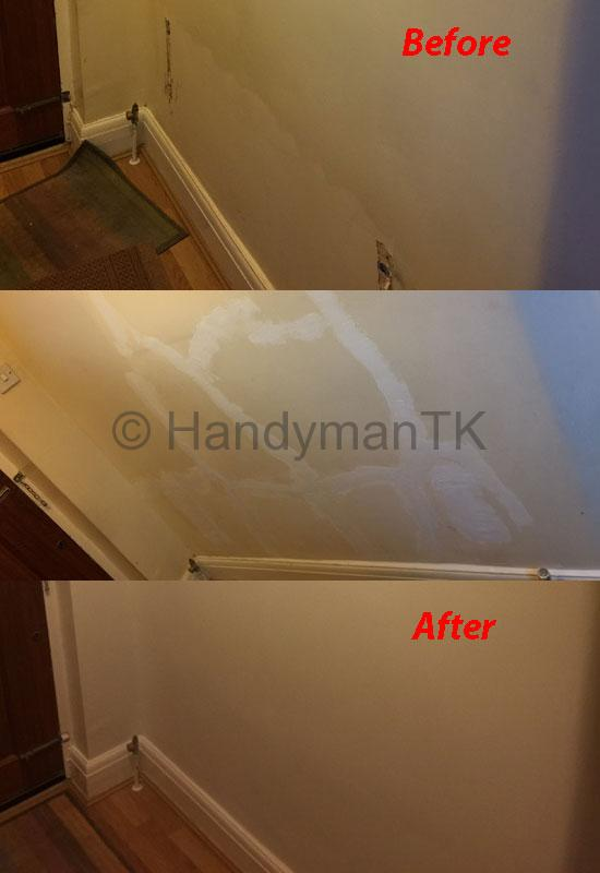 Before and After pictures of Handyman TK fixing cracks in a hallway